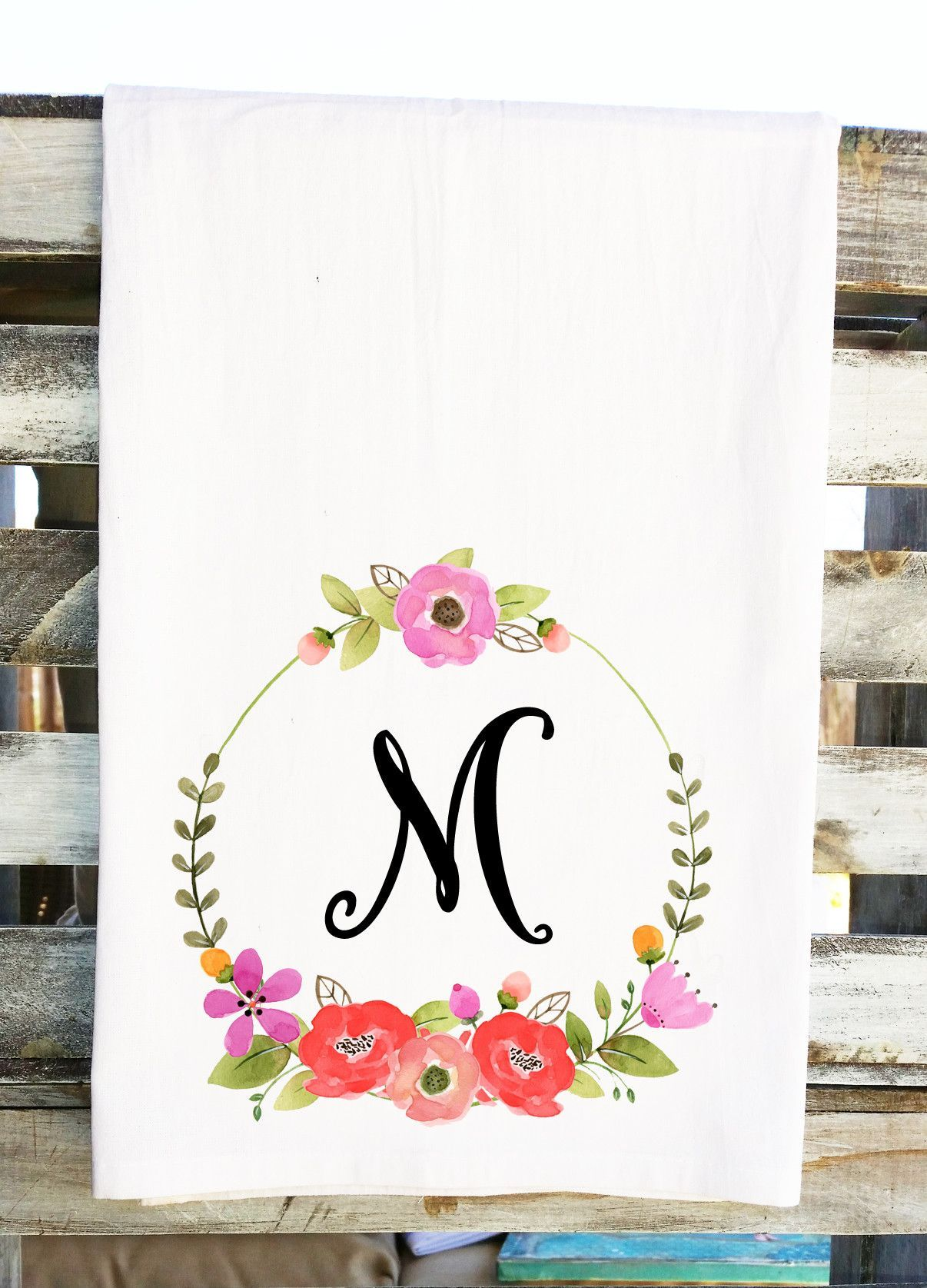 a47ddfdfd Personalized Monogram Initial Kitchen Towel Mother's Day Gift Floral W –  Bungalow Blue
