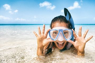 Beach vacation tourist Asian girl swimming in scuba mask making a goofy face. Snorkel fun woman on tropical travel holidays. , #sponsored, #swimming, #girl, #mask, #scuba, #vacation #Ad