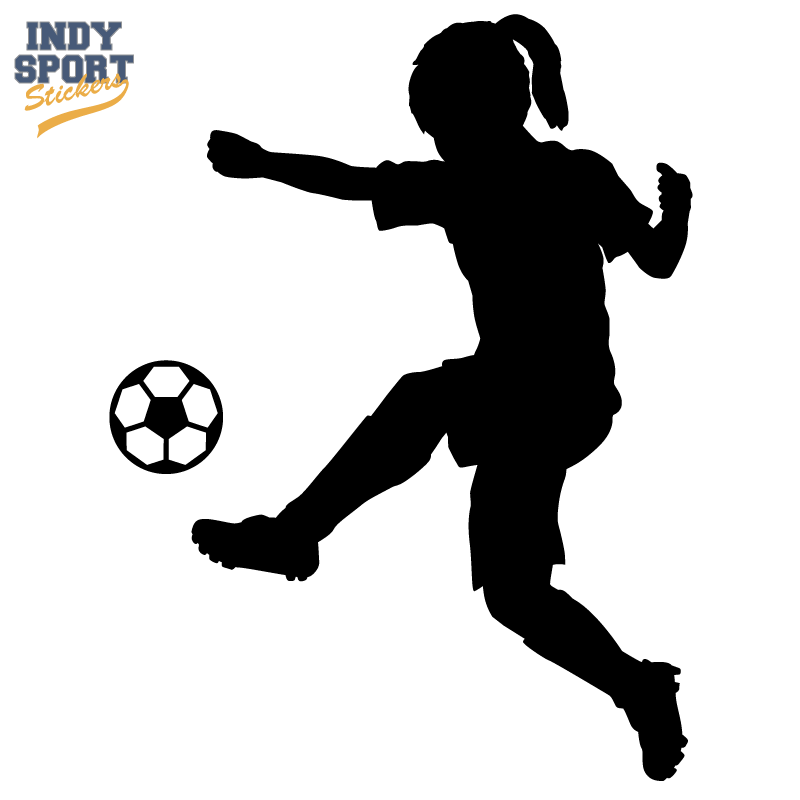 Soccer Player Girl Silhouette Kicking Ball Fotball Jenter Og Kort