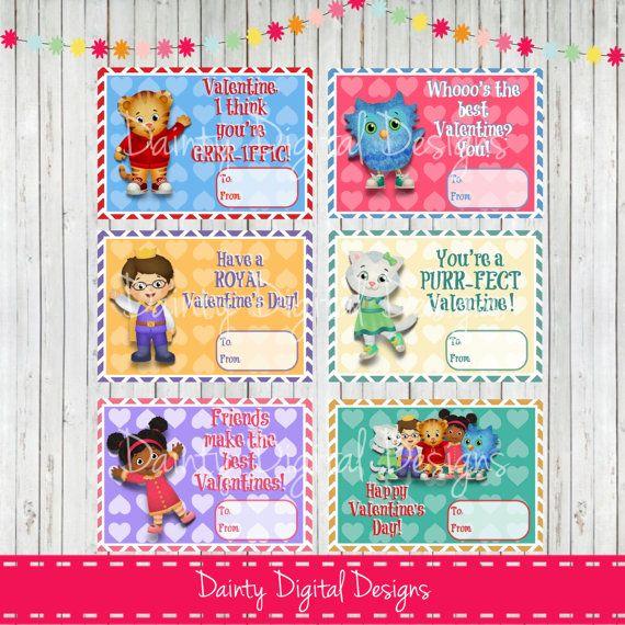 Printable Daniel Tiger Valentineu0027s Cards By DaintyDigitalDesigns