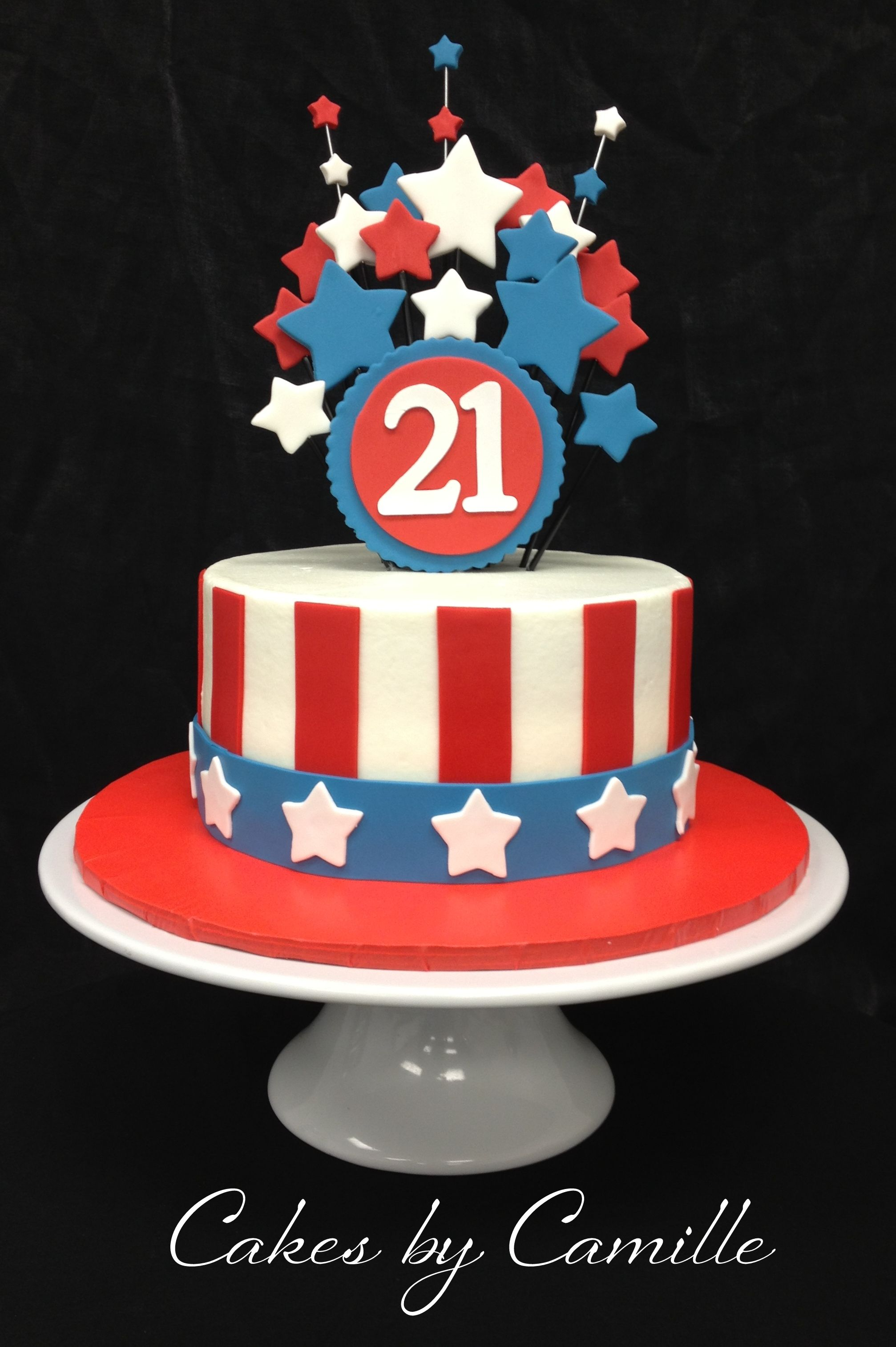 Astonishing Fourth Of July Birthday Cake Red White And Blue Birthday Cake Funny Birthday Cards Online Alyptdamsfinfo