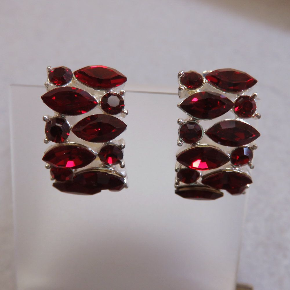 Vintage Red Half Hoop Earrings