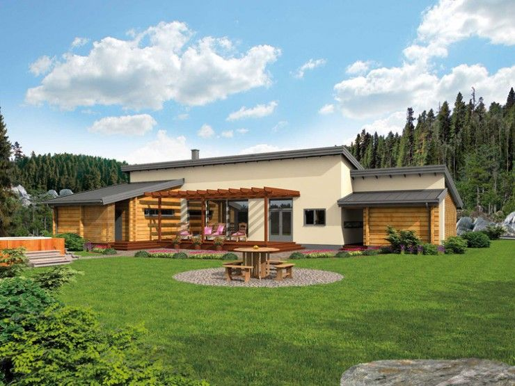hambo bungalow von honka blockhaus gmbh hausxxl modernes blockhaus mit pultdach bungalows. Black Bedroom Furniture Sets. Home Design Ideas
