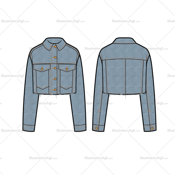 Fashion Flat Vector Template Of Women S Cropped Denim Trucker Jacket