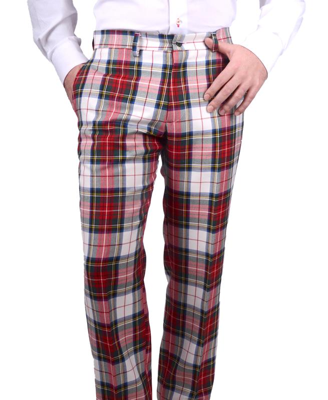 Pantalón hombre Tartan Stuard, tejido de cuadros rico en lana