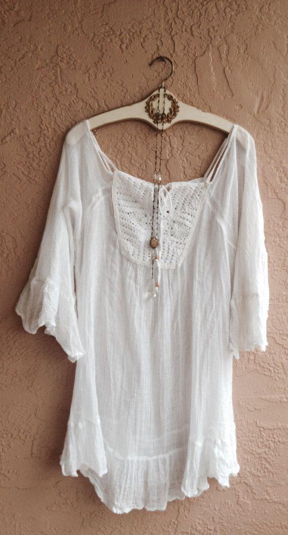 Beach tunic off shoulder gypsy dress wedding lace by BohoAngels, $60.00
