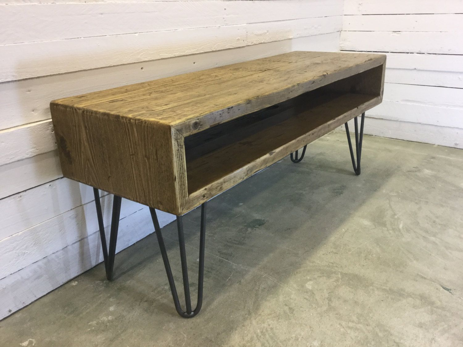 created by oxrusticfurniture 39 rustic industrial hairpin leg scaffold board tv stand unit. Black Bedroom Furniture Sets. Home Design Ideas
