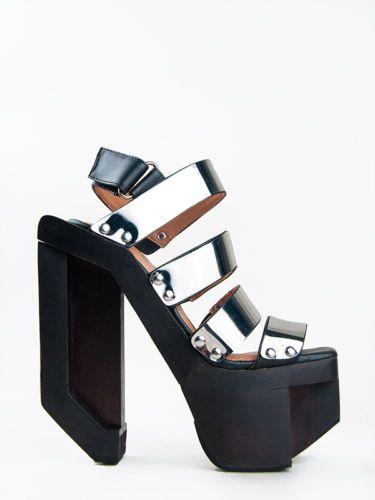 c999d730738 Jeffrey Campbell Machine Black Wood Silver Plate Platform Cutout Heel Booty  Lita | eBay Schoenen Sandalen