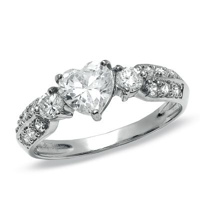 6mm Heart Shaped Cubic Zirconia Engagement Ring In 10k White Gold