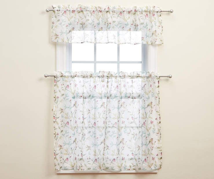 Living Colors Arboretum Floral Print Tier Valance 3 Piece Set