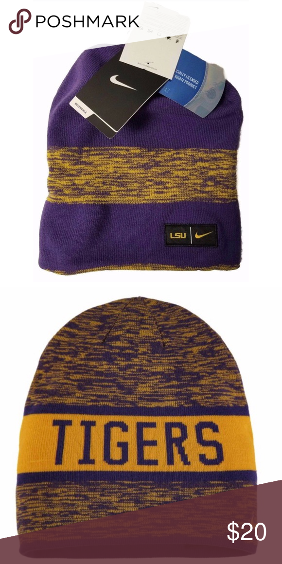 de83fbfb128 Nike NCAA LSU Tigers Reversible Beanie Football It s purple!! 🎩 Nike  Accessories Hats