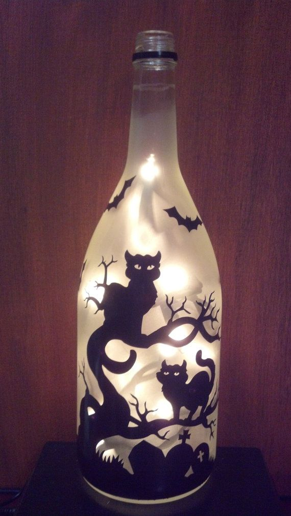 Halloween cats in a dead tree, bats, grave Recycled Wine Bottle Lamp light