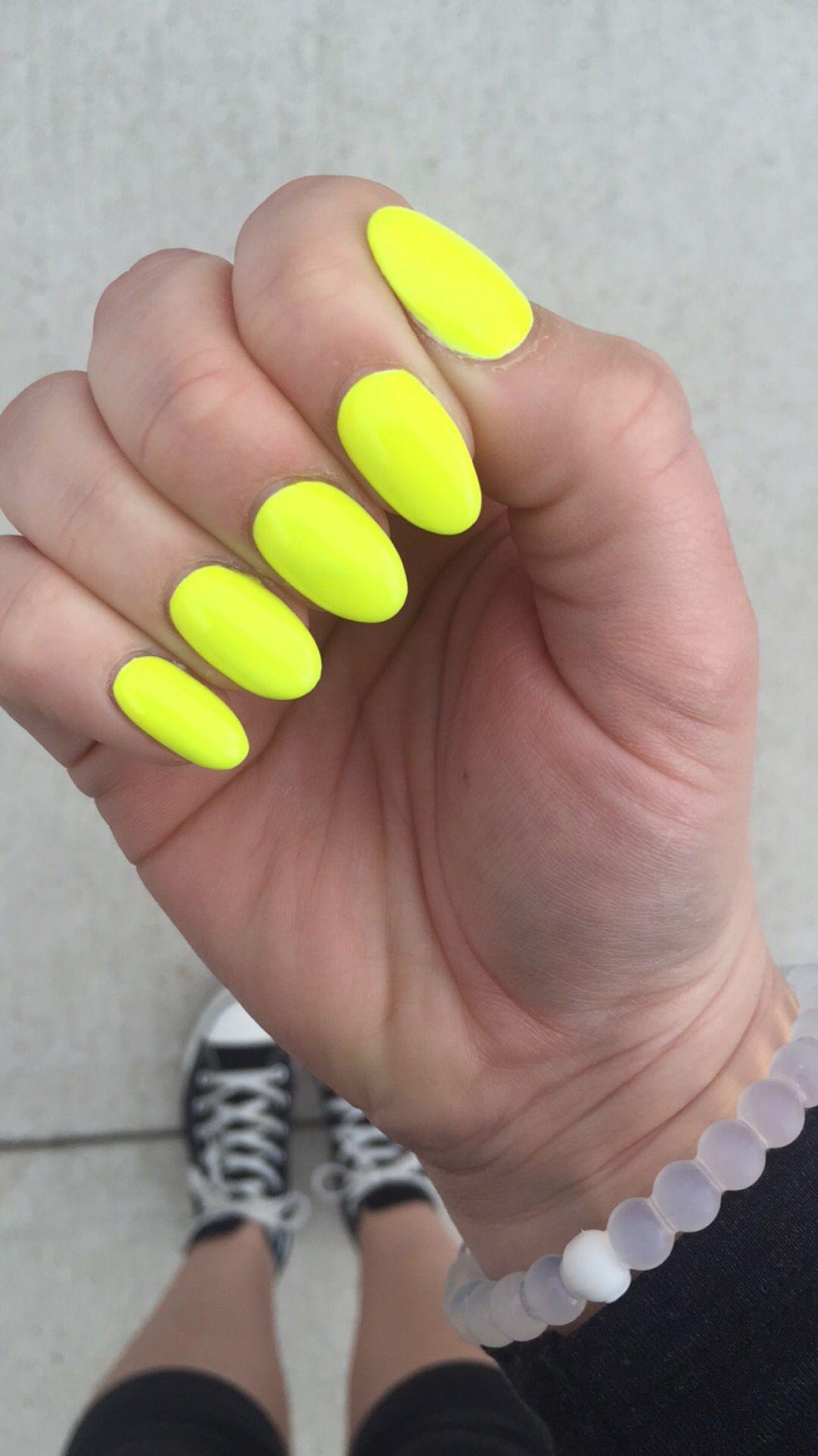 neon yellow almond nails | Nails | Pinterest | Almond nails, Hair ...