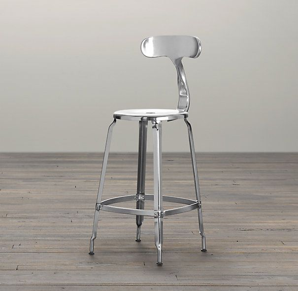 French T Back Counter Stool Polished Chrome From