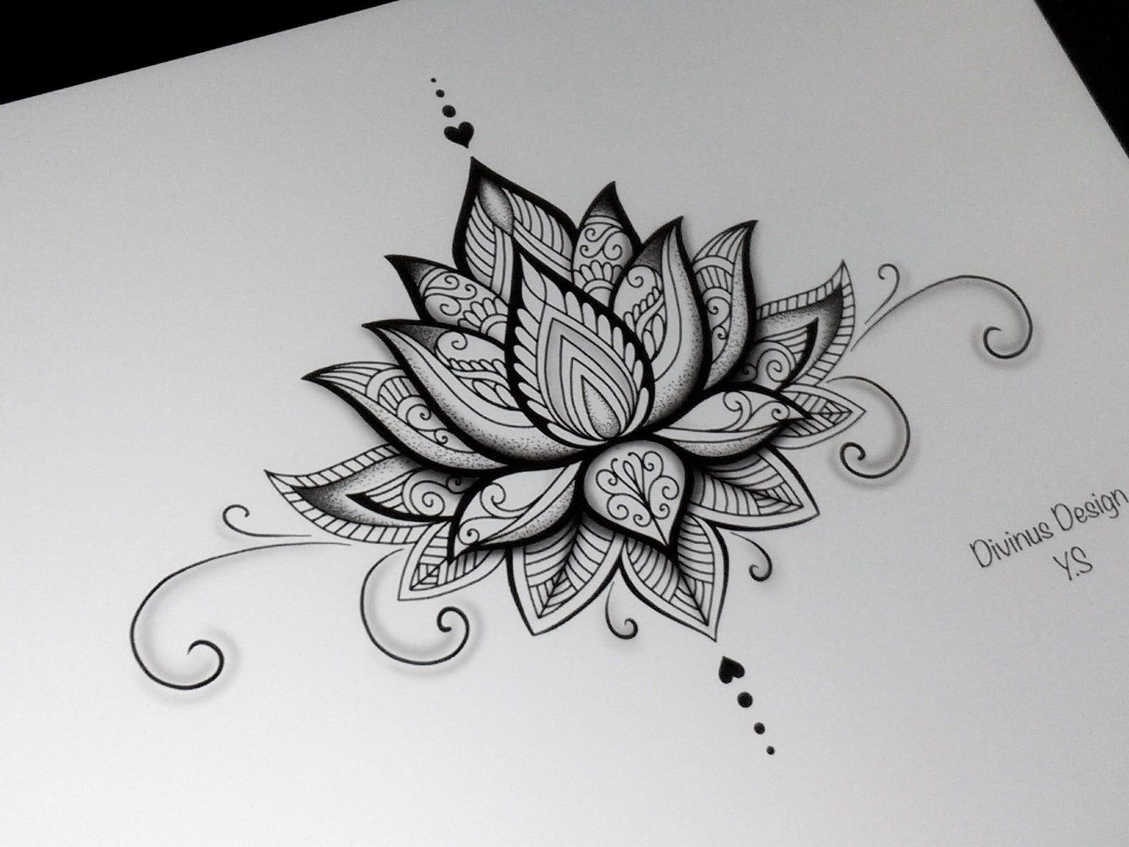 Lotus Mandala Tattoo Design and Stencil/Template - Instant Digital Download