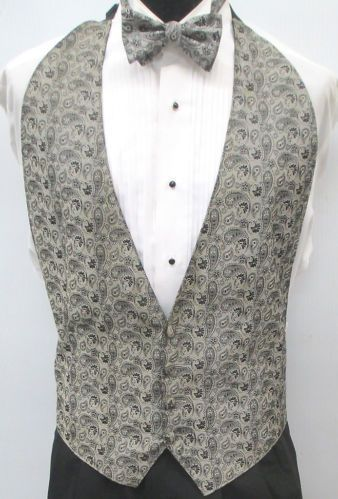 4f5929e29576 Grey Silver Paisley Open Back Backless Tuxedo Vest Matching Bow Tie Fit All  | eBay