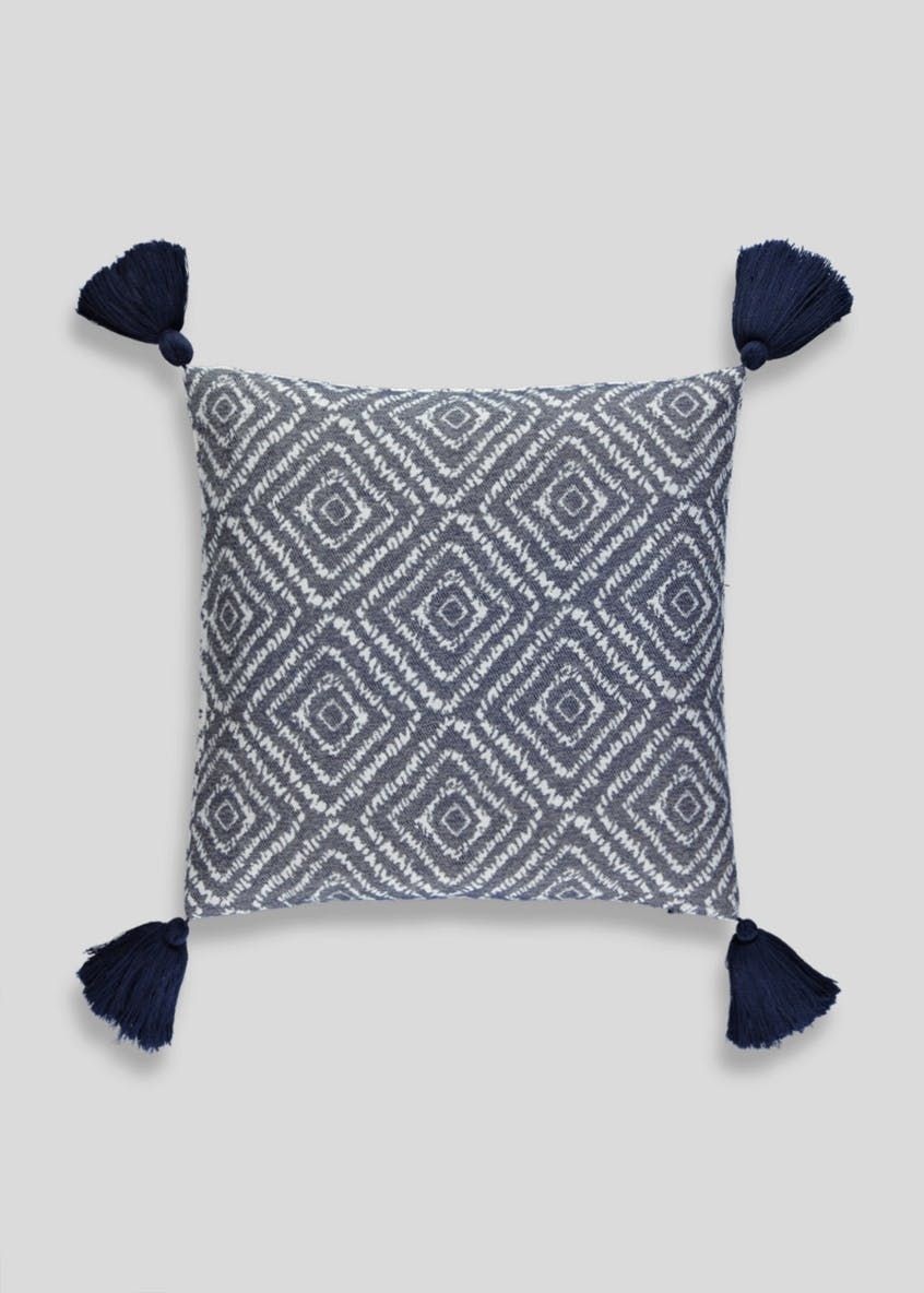 John Lewis Agra Fabric Cushion cover In Blue Geometrical design