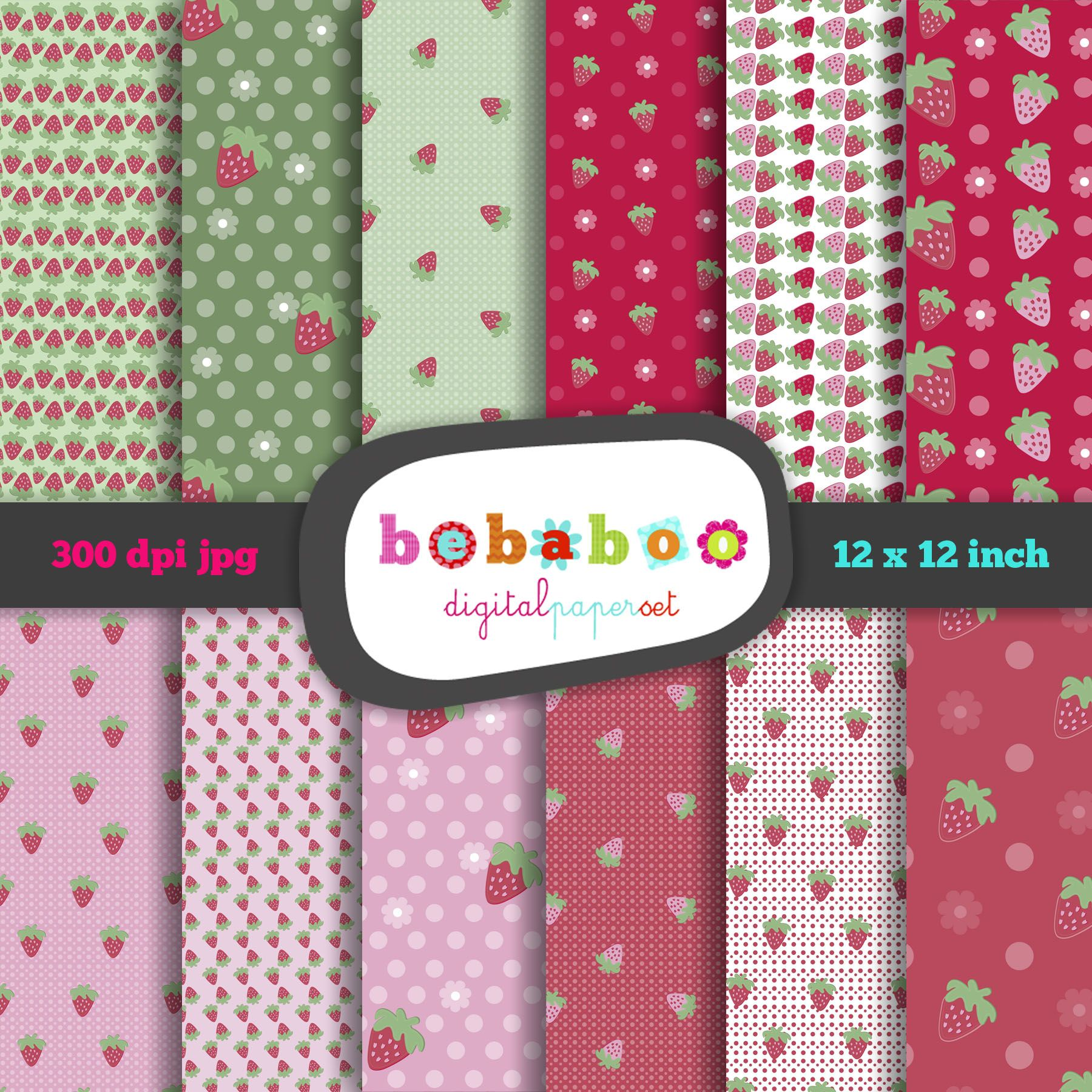 Digital Paper Sweet Strawberry Set With 12 Papers, 12X12, 300Dpi,