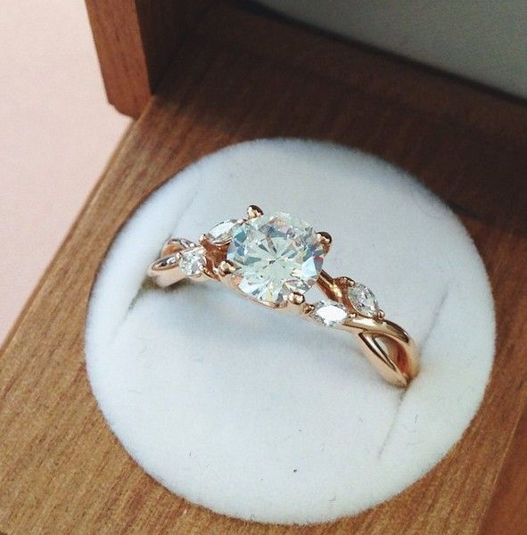 Rose gold willow engagement ring