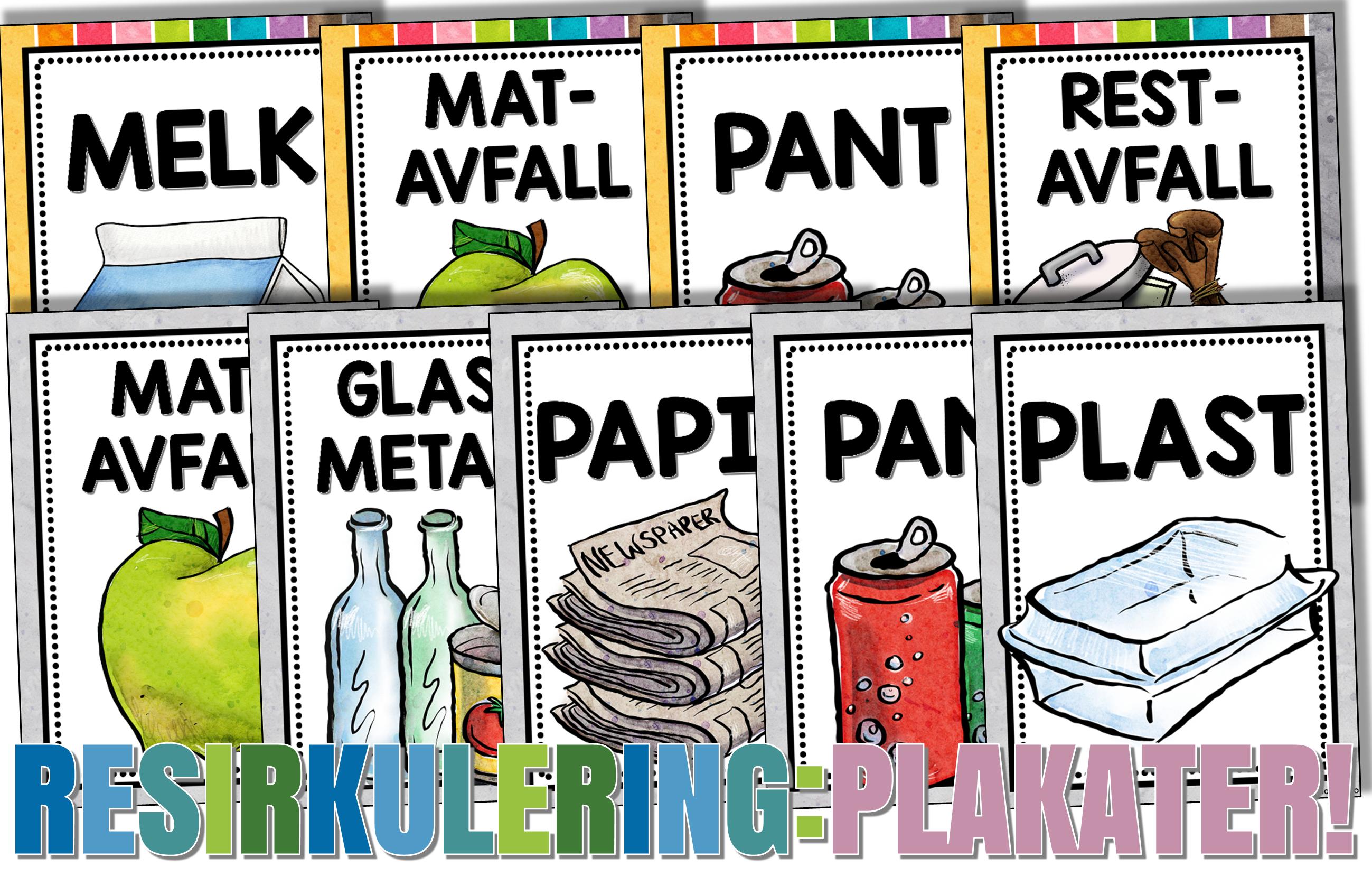Resirkulering Plakater Bm Nn Klasserom Plakater Resirkulering Plakat
