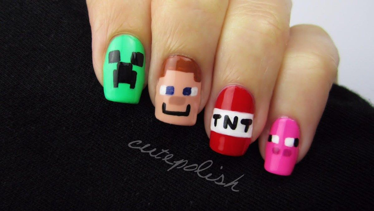 Minecraft Nail Art Nerd Nail Series Minecraft nails