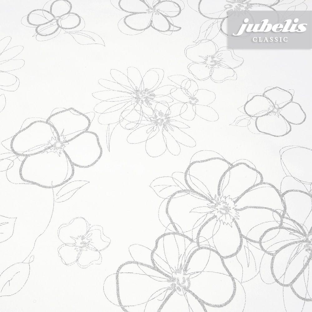 Weisse Wachstuchtischdecke Mit Silbernen Blumen Wachstuch Wachstuch Tischdecke Tuch