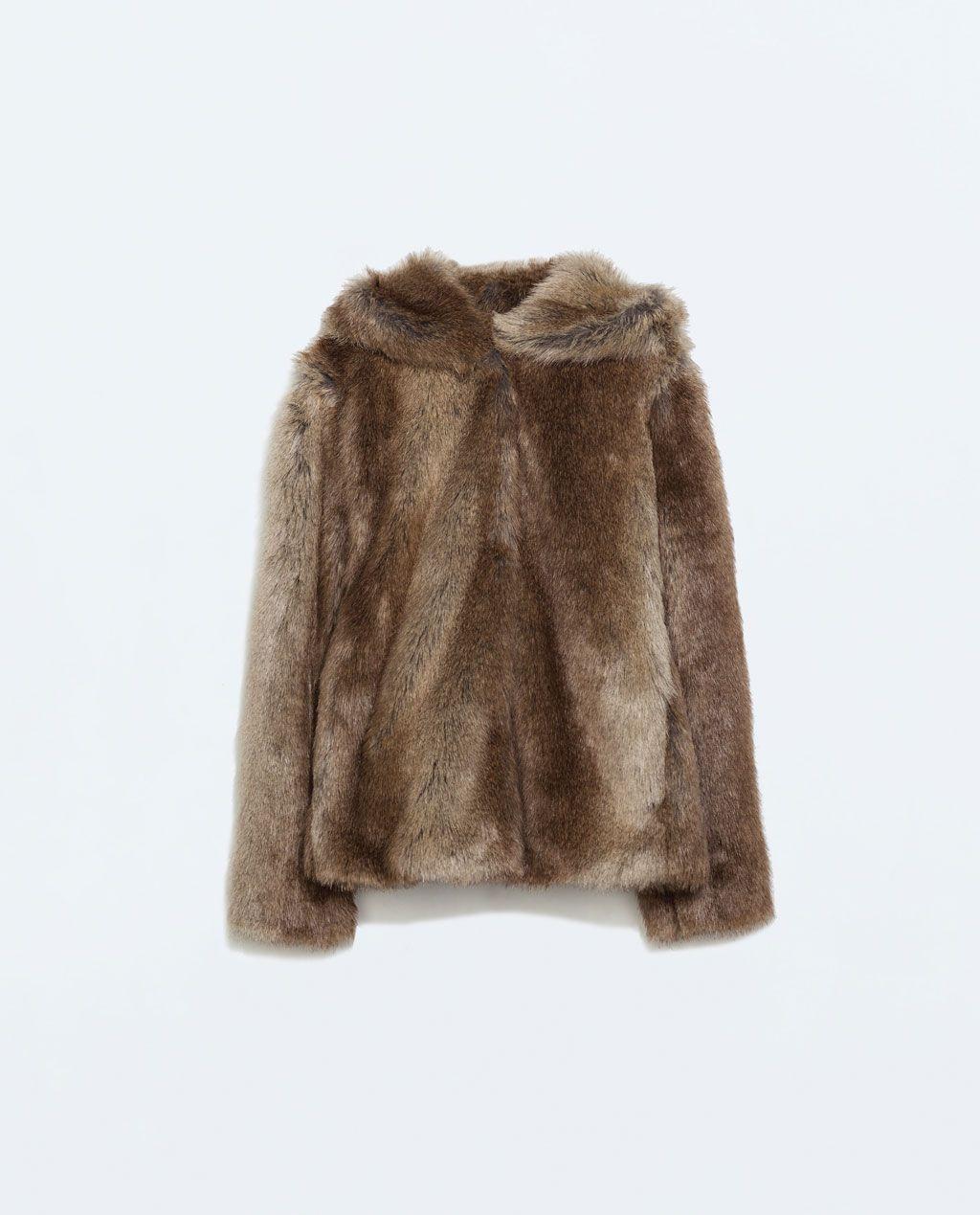 Veste en cuir avec fourrure femme zara