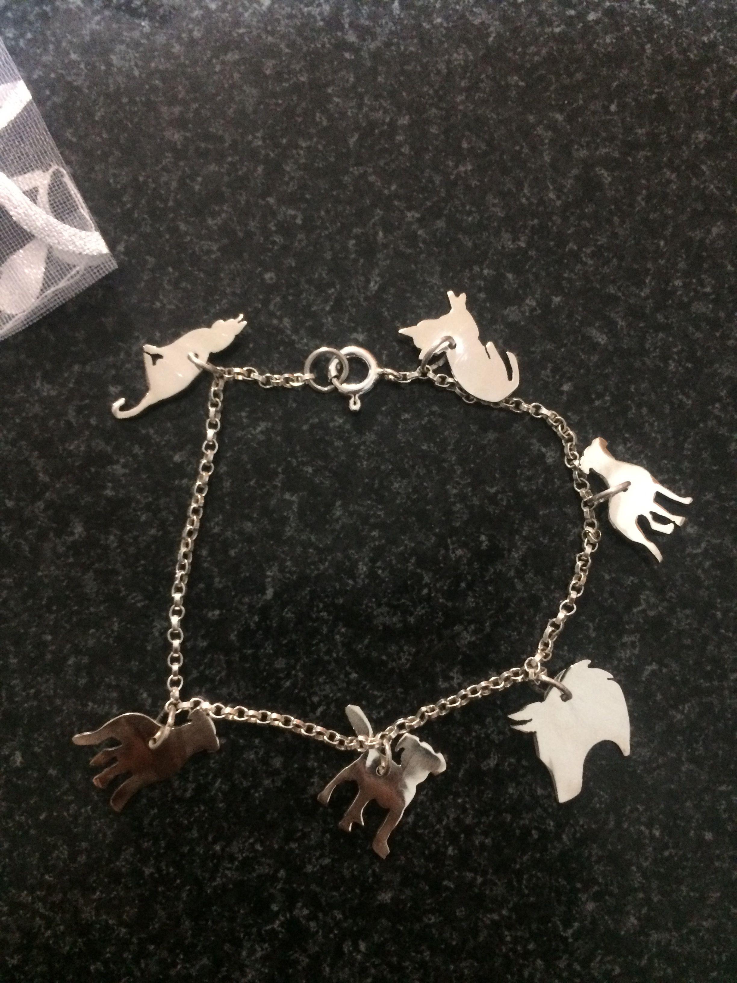 Premium pulsera con dijes Perrito Perro Mascota de Cristal Enchapados en Plata de Aleación Grano Regalo