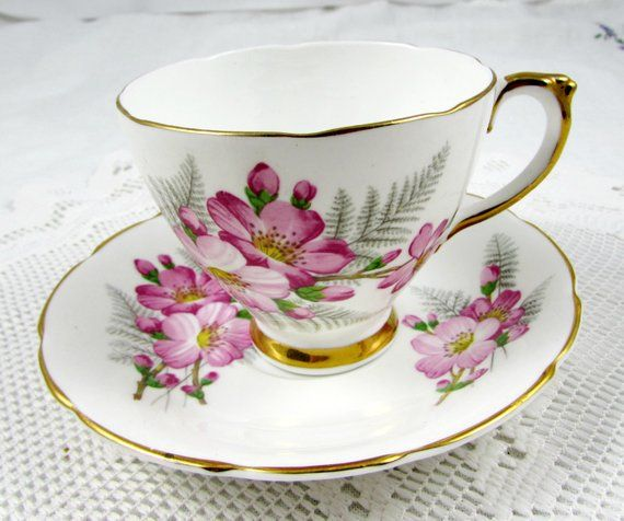 Delphine Tea Cup And Saucer With Pink Flowers In 2019
