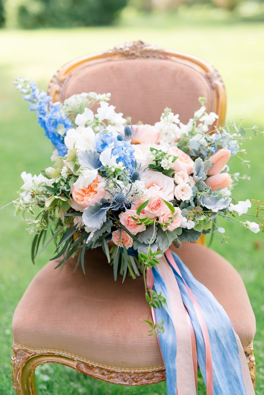 Spring Bridal Bouquet in Peach & Powder Blue Photography by Anna Kardos Photography