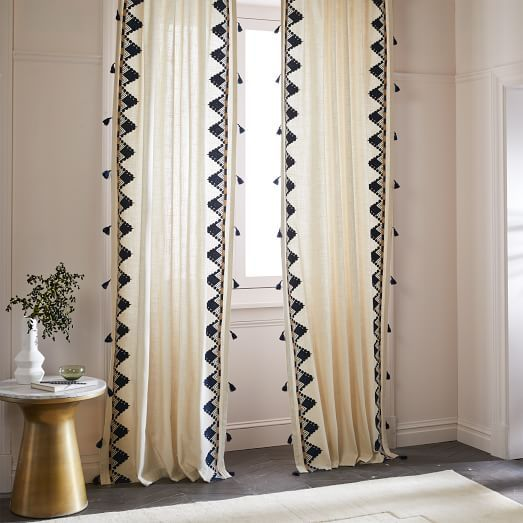 Embroidered Border Curtain Plain Curtains Curtains Living Room Blinds