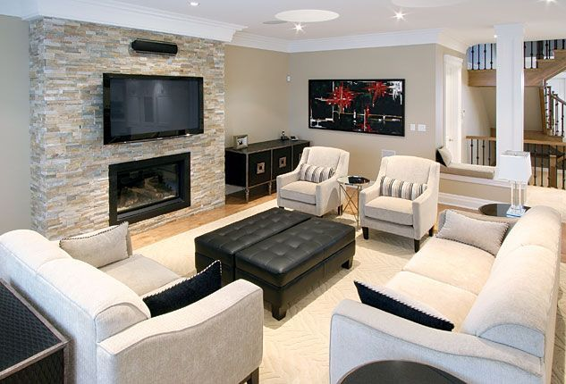 23 Charming Beige Living Room Design Ideas To Brighten Up: Gas Fireplace With TV Above