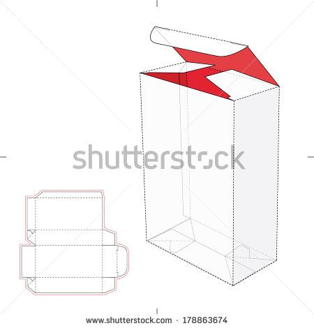 Tall Box With Auto Lock Bottom And Cut Pattern Layout Stock Vector