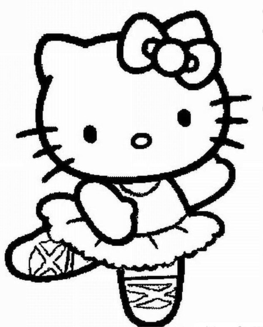 Hello kitty chubby ballerina coloring page photos cartoon at coloringplus com