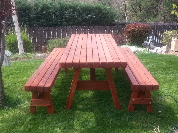 Heavy Duty Redwood Table Set