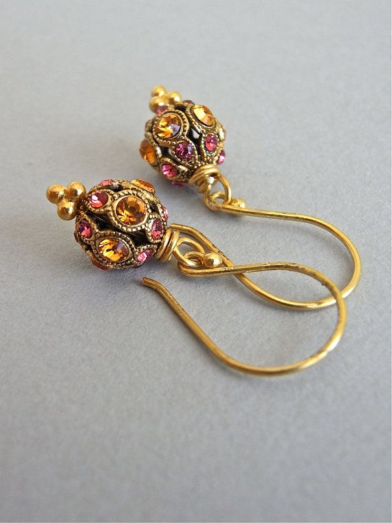 The Sari earrings - stunning Swarovski crystal studded beads are completed with luxe all vermeil findings - so petite and oh-so-delightful!