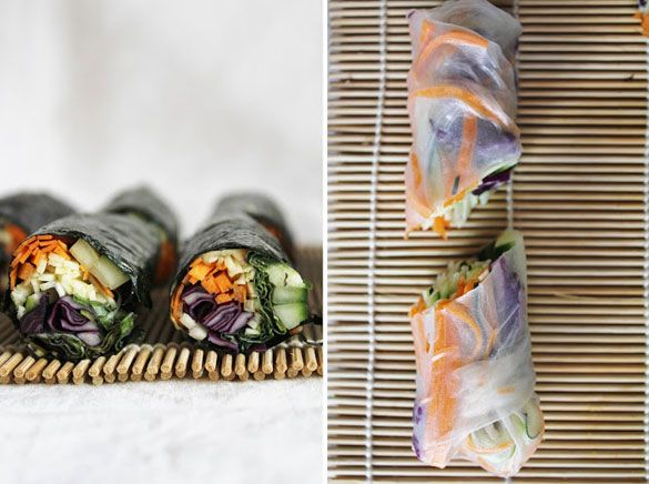 Raw nori wraps with red cabbage, cucumber, carrots, zucchini and spicy dipping sauce