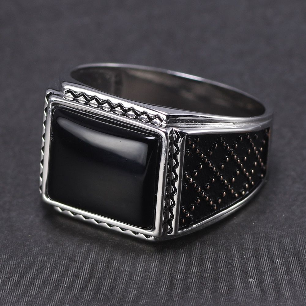 Black Onyx Natural Stone Vintage Turkish Mens Rings  Anillos Hombre – 10