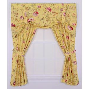 Coventry Yellow Medium Scale Floral 68 By 63 Inch Tailored Panel