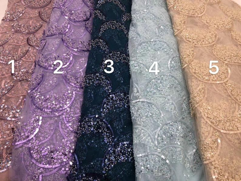 Lace fabric with tassels Bling Bling sequins lace fabric New arrival fashion shinning lace fabric