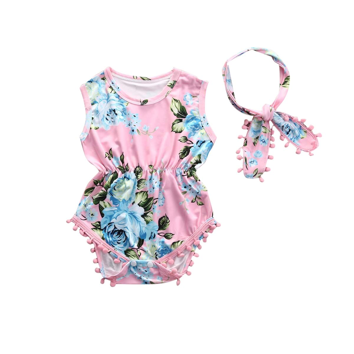 Headband Jumpsuit Sunsuit Outfits Adorable Baby Girls Floral Bodysuit Romper
