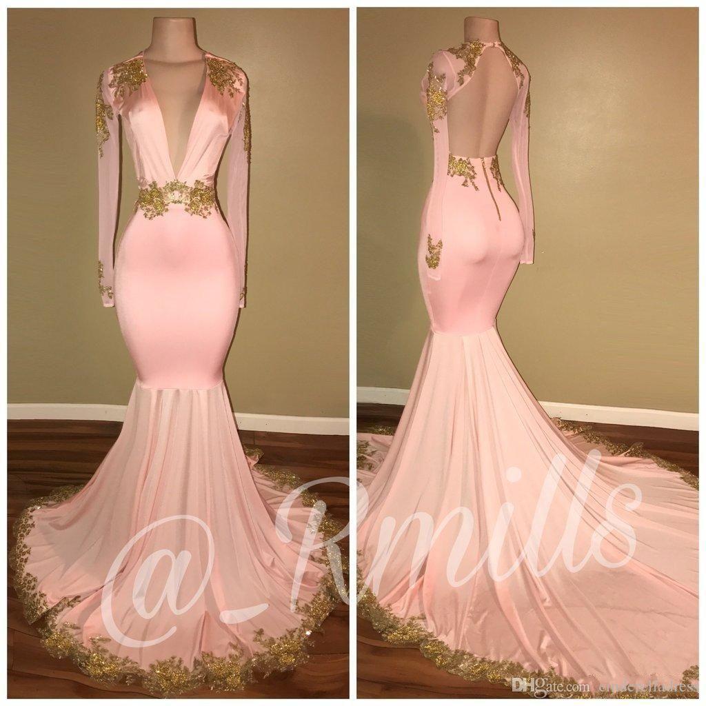 New arabic high neck prom dresses gold appliques mermaid vintage