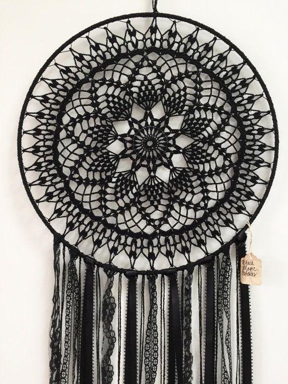 Black Magic BOHO Dreamcatcher ~ Crochet Doily, Lace, Feathers ...