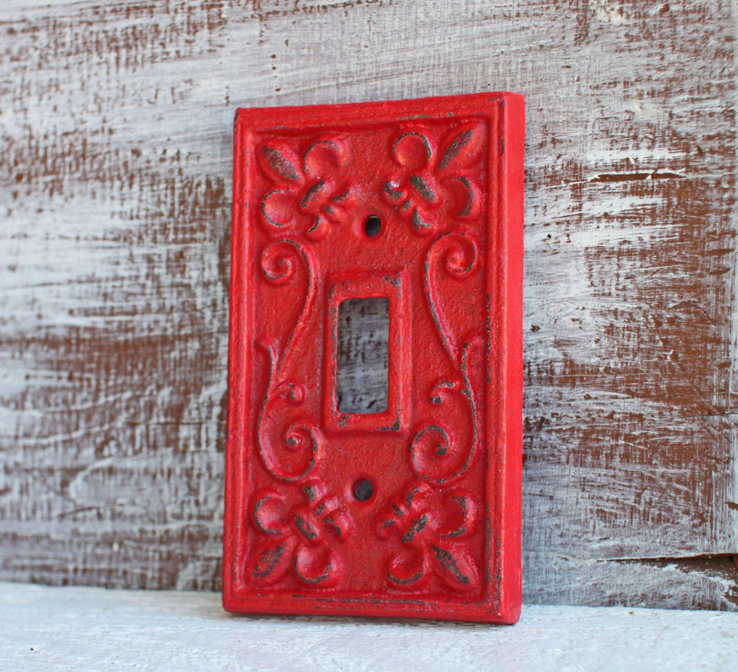 Single Light Switch Plate Cover Red Cast Iron Fleur De Lis Outlet Rustic Wall Decor