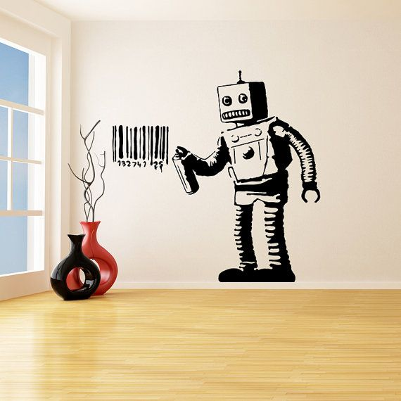 Banksy Vinyl Wall Decal Robot Graffiti / Machine Painting Barcode ...