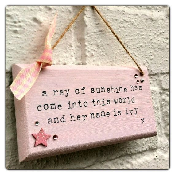 Quote Plaques: Ray Of Sunshine New Baby Quote Shabby Chic Plaque / Wall