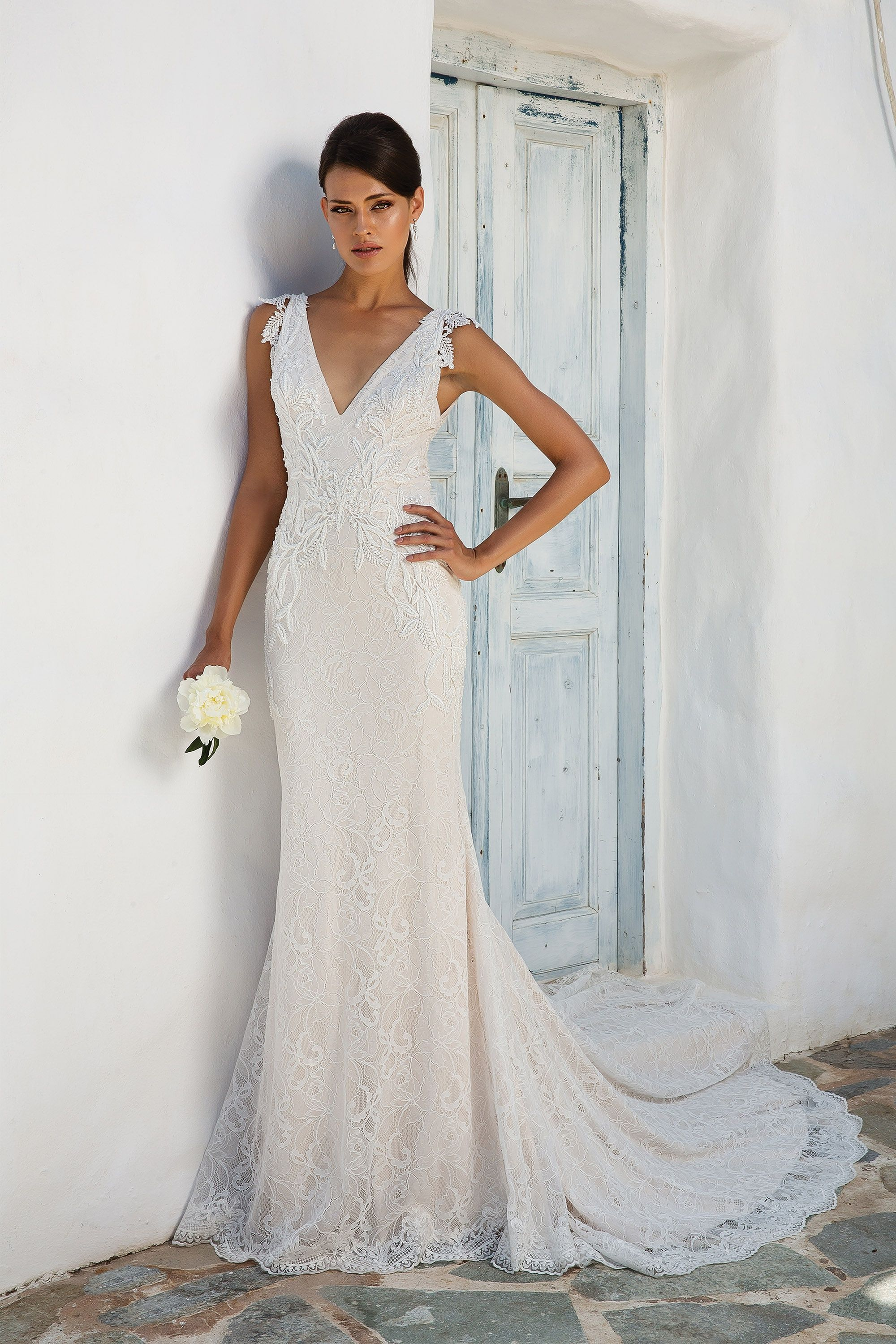 Romantic chantilly lace gown with beaded lace appliqués vneck and