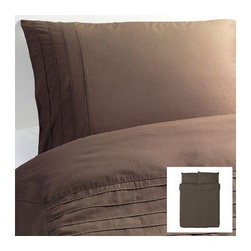 ALVINE STRÅ Duvet cover and pillowcases in Brown. Option for master bedroom bed.