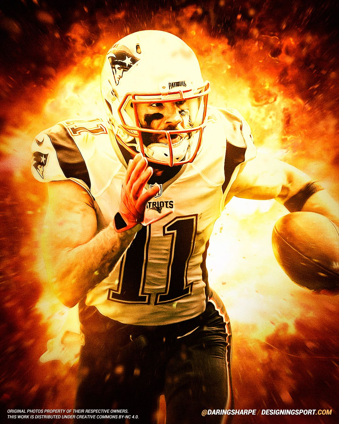 Julian Edelman New England Patriots Designing Sport New England Patriots Patriots Football Helmets