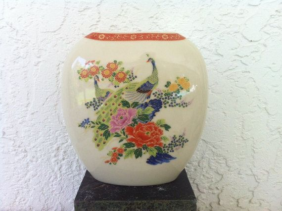 Satsuma Peacock Vase Asian Oval Vase Vintage Pottery Pair Of